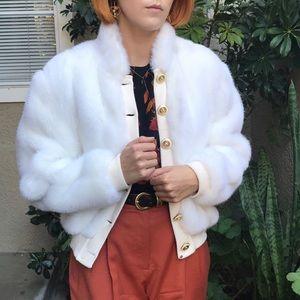 Vintage very light cream St. John faux fur jacket